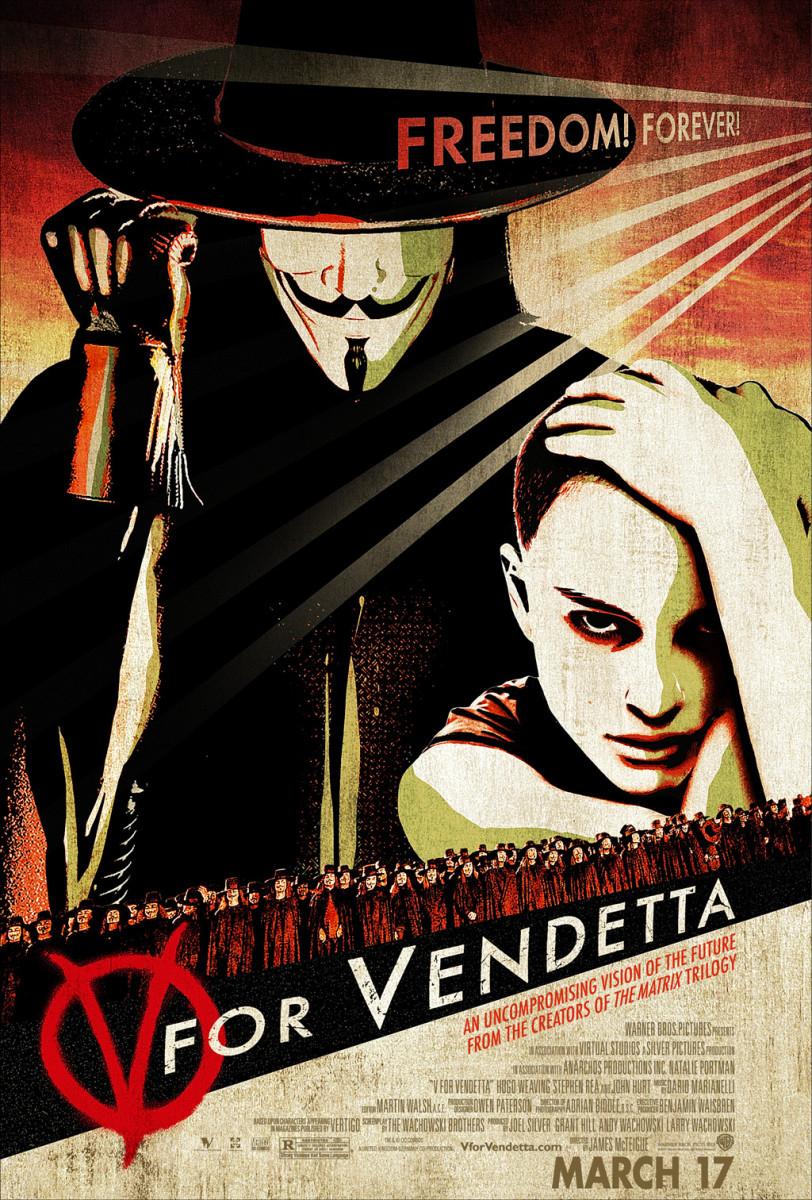 V for Vendetta movie poster. Hugo Weaving & Natalie Portman